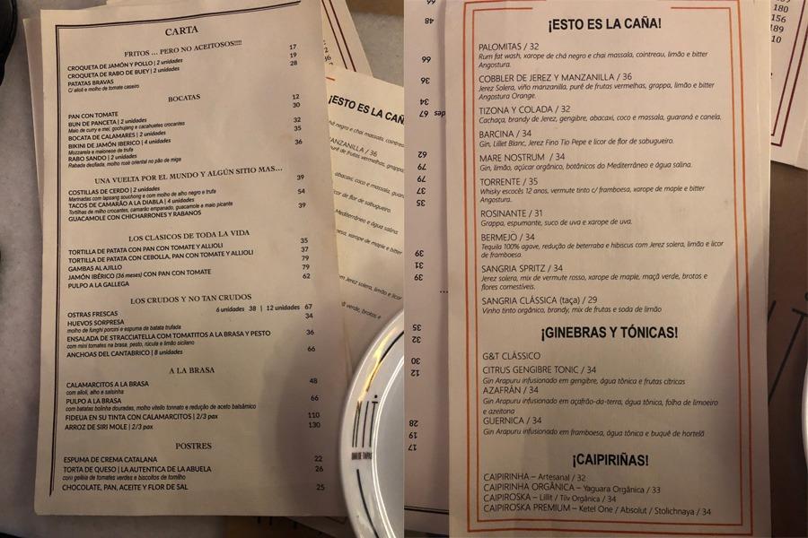 NIT Bar de Tapas - Cardápdio