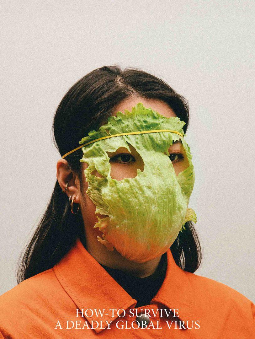 Máscara artistica com alface